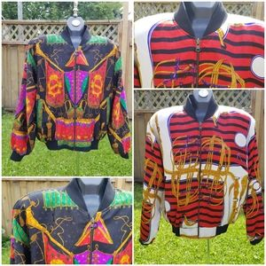 Vintage Patterned Reversible Bomber Jacket